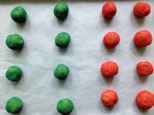 A festive little troop, awaiting their turn in the oven.
